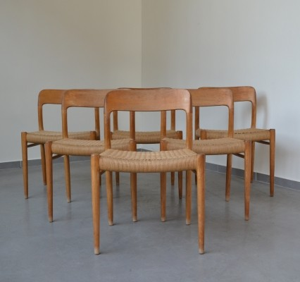 Set of 'model 75' chairs by Niels Otto Møller for J.L. Møllers Mobelfabrik
