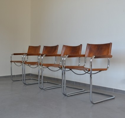 Set of four Bauhaus chairs (model S34) by Mart Stam for Fasem, Italy 1970s