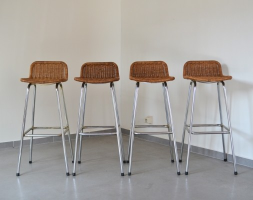 Set of 4 bar stools by Dirk Sliedreght for Rohé Noordwole, The Netherlands
