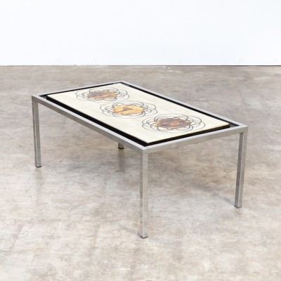 Handpainted coffee table by Juliette Belarti, 1960s