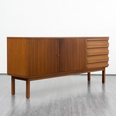 Straight-lined 1960s walnut sideboard