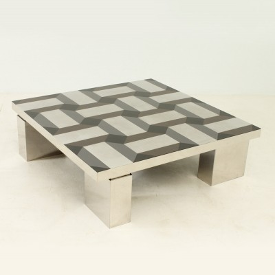 Exceptional Coffee Table with Geometric Pattern Top