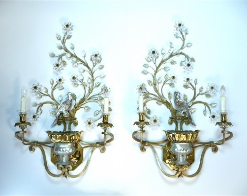 Set of Italian Large Gilt-Metal & Crystal Glass Sconces by Banci Firenze, 1960s