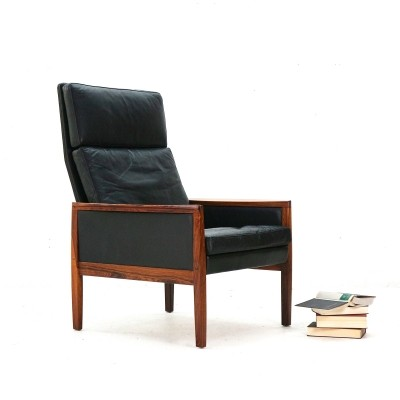 Leather & Rosewood Armchair by Hans Olsen for Juul Kristensen, DK