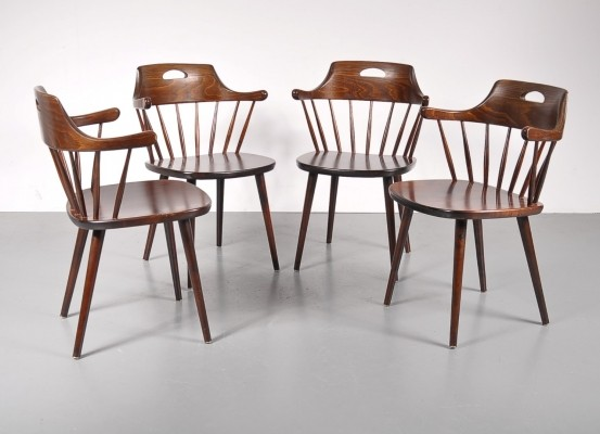 Set of 4 Yngve Ekström dinner chairs, 1950s