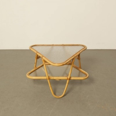 Rattan side table by Dirk van Sliedregt for Rohé Noordwolde, 1950s