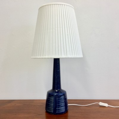 Large Dark Blue Danish Ceramic Table Lamp by Esben Klint for Palshus
