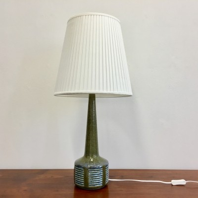 Large Green Danish Mid-Century Modern Ceramic Table Lamp by Palshus