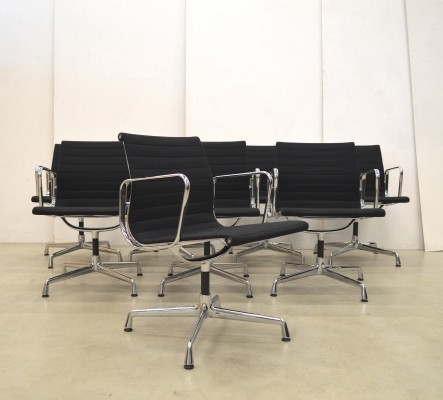 Set of 8 EA108 Hopsak office chairs by Charles & Ray Eames for Vitra, 1990s