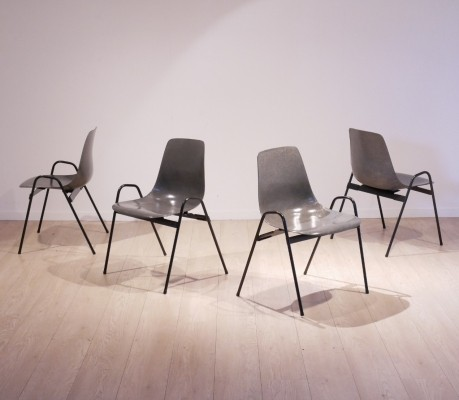 Set of 4 grey fiberglass Dining chairs by Georg Leowald, 1960s