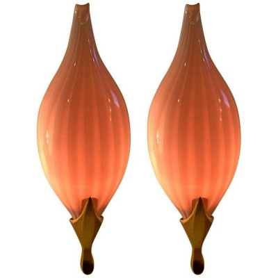 Pink Wall Sconces by Venini, 1960's