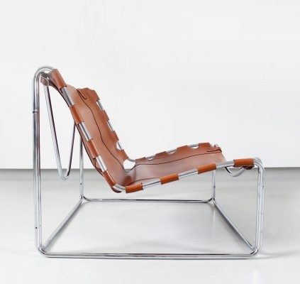 A cognac leather 'Fabio' lounge chair by Pascal Mourgue for Sedia-Steiner