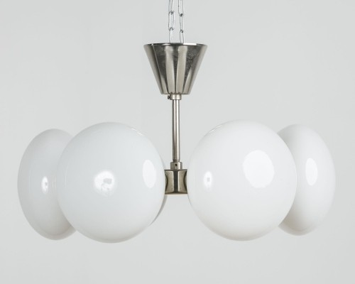 Opaque white glass chandelier, 60's