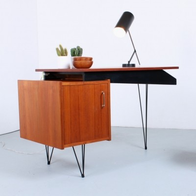 Dutch teak hairpin wire legs desk, 1950s
