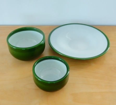 Set of three 'Palet' series bowls in green by Michael Bang for Holmegaard