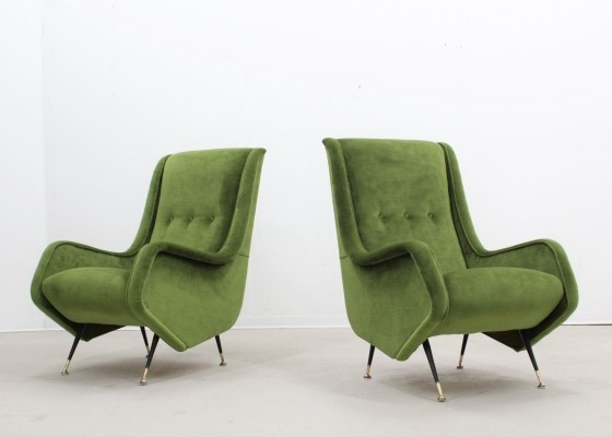 Pair of Italian mid century armchairs by Aldo Morbelli for ISA