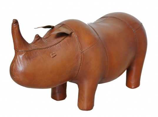 Small vintage rhinoceros leather foot stool by Dimitri Omersa for Abercrombie & Fitch