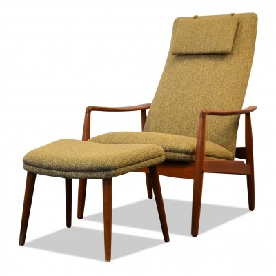 Vintage Danish lounge chair & footstool by Søren Ladefoged