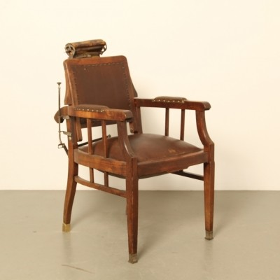 Barber's chair in oak & brown leather, 1920s