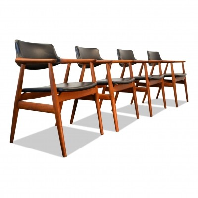 Vintage set of 4 Danish design Svend Aage Eriksen teak armrest chairs