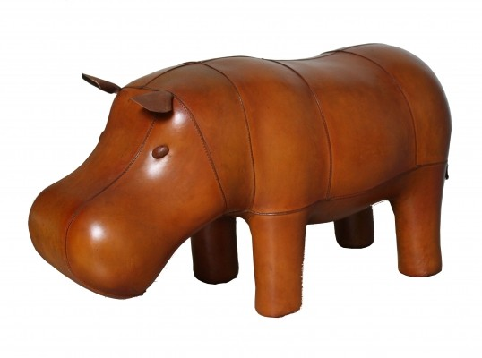 Very decorative leather foot stool hippopothamus by Dimitri Omersa for Abercrombie & Fitch