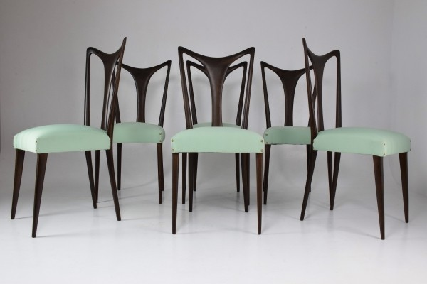 Set of 6 Italian Vintage Dining Chairs by Guglielmo Ulrich, 1940s