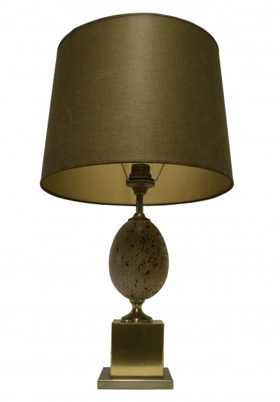 Brass ostrich egg table lamp, 1960s