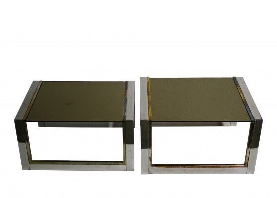 Set of two modernist seventies brass & chrome nesting tables with smoked glass