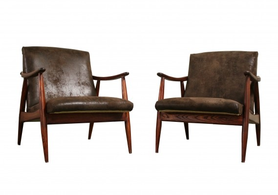 Pair of vintage scandinavian lounge chairs, 1960s