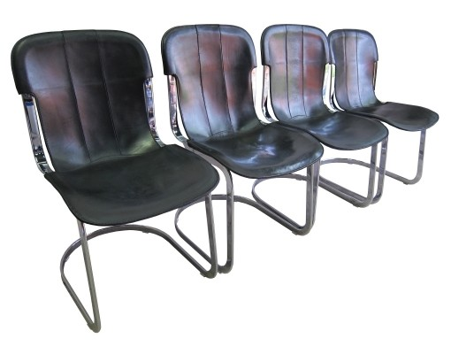 Vintage leather dining chairs Cidue by Willy Rizzo, 1970's
