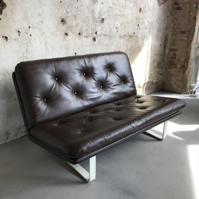 Brown leather 'C684' sofa by Kho Liang Ie for Artifort