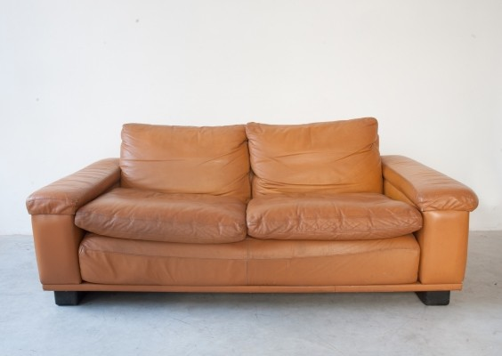 Camel leather two seater sofa, 1970s