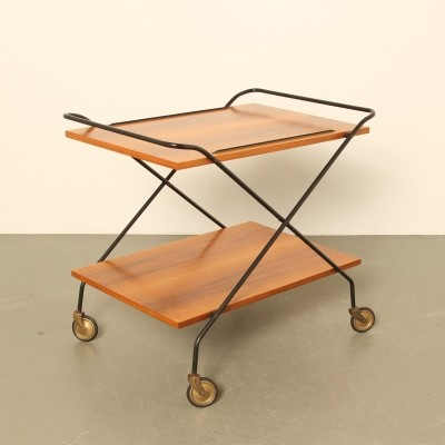 Tea trolley / drinks cart on wheels, 1950s