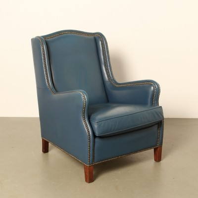 Blue leather armchair, 1970s