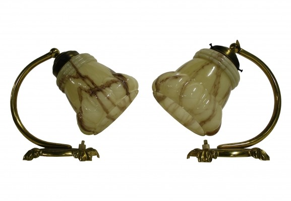 Pair of brass & marbled glass art deco table lamps, 1930s