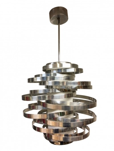 Cyclone Chrome Chandelier by Max Sauze for Gaetano Sciolari, Italy 1970s