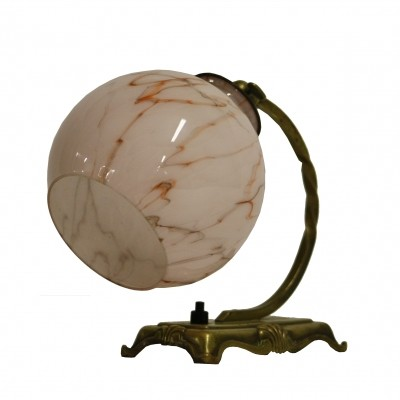 Art deco desk lamp with pink marbled glass, 1930s