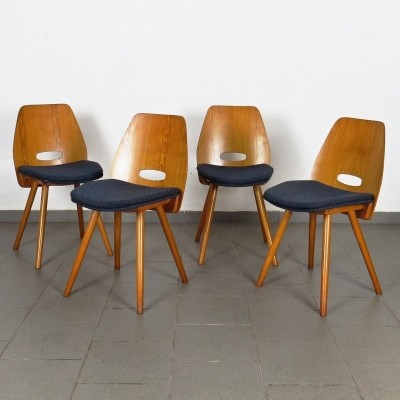 Set of 4 dinner chairs by František Jirák for Tatra Nabytok NP, 1960s