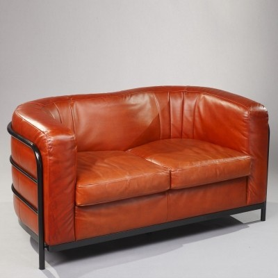 Onda Sofa in Leather With Black Metal Structure by Zanotta, 1980s
