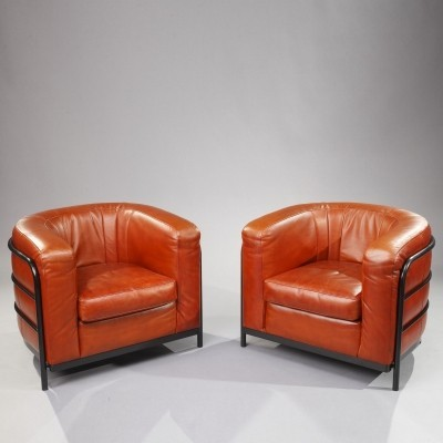 Two Onda Armchairs in Leather by Zanotta Italy, 1980s