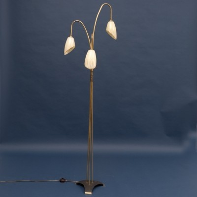 1950s floor lamp with glass shades