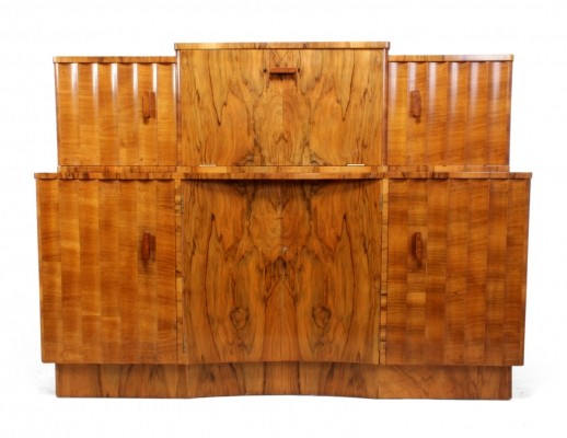 Art Deco Fluted Sideboard in walnut with Cocktail bar
