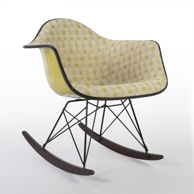 Original Herman Miller Cross Patch Yellow Eames RAR Rocking Arm Chair