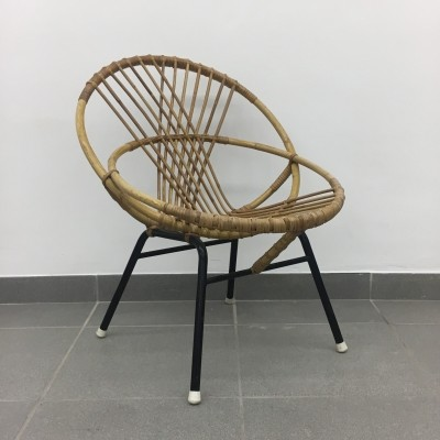 Vintage rattan chair 1950's by Rohe Noordwolde