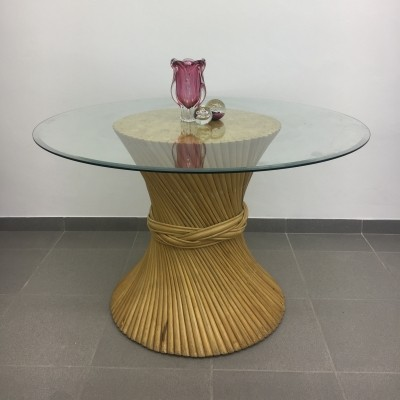 McGuire Sheaf of Wheat Bamboo Dining Table, circa 1970