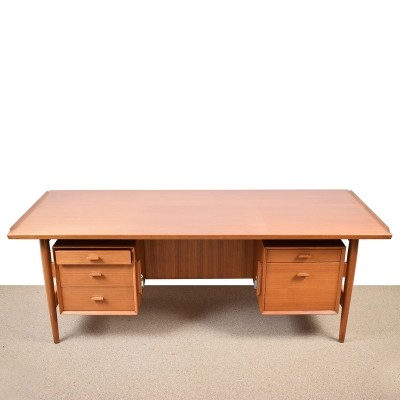 Danish Modern Teak Executive Desk by Arne Vodder