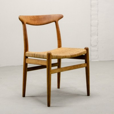 Oakwood & Woven Cane 'W2' Side Chair by Hans J. Wegner for C.M. Madsen, 1953
