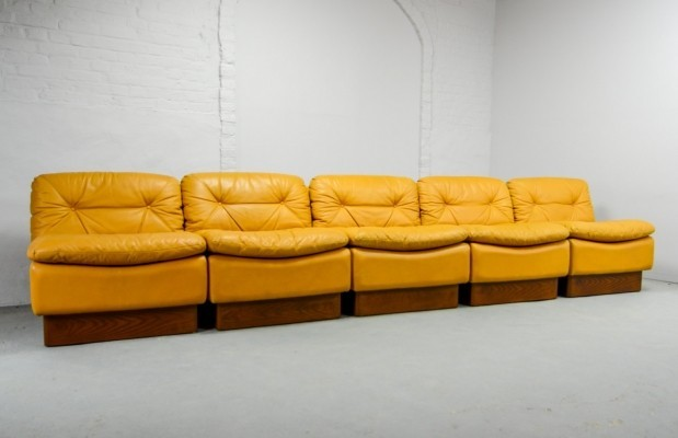 Deep Yellow Leather Modular Sofaset by Dreipunkt International, Germany 1970s