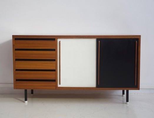 Teak Sideboard with Black & White Painted Sliding Doors
