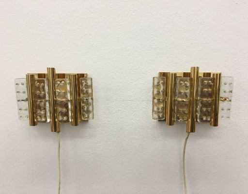 Set of Two Brass Wall Lamps by Carl Fagerlund for Lyfa & Orrefors Glass